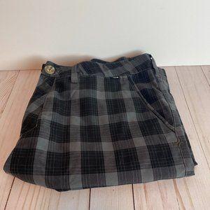 HURLEY Men's 36 Grey & Black Plaid Bermuda Shorts